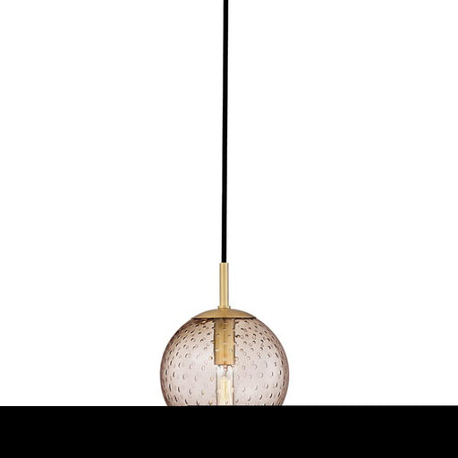Hudson Valley Rousseau 1 Light Pendant, Bronze Glass/Aged Brass