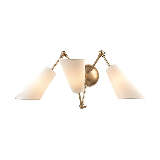 Hudson Valley Buckingham 3 Light Wall Sconce, Aged Brass