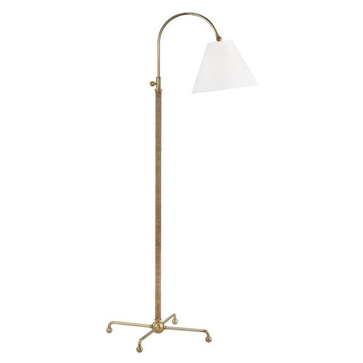 Hudson Valley Curves 1-Light Table Lamp, Brass/Off-White Linen