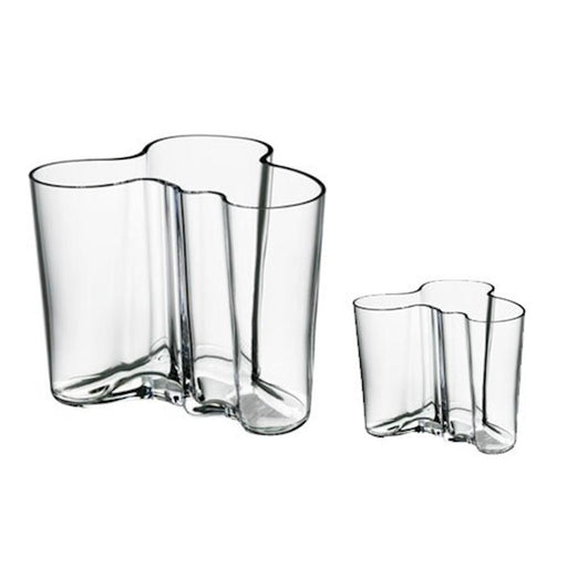 "iittala Aalto Vase Set of 2 6.25"" and 3.75"" in Clear"