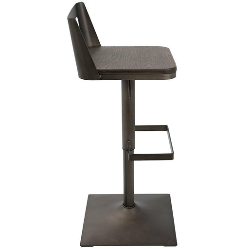 LumiSource Samurai Barstool, Antique, Espresso -BS-SAMRAN-ESP