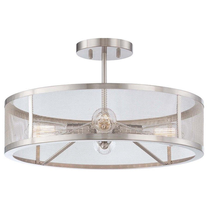 Minka Lavery Downtown Edison 4 Light Semi Flush Mount, Brushed Nickel