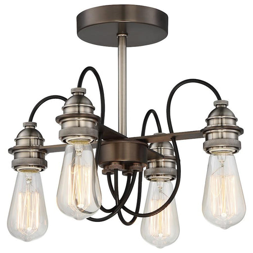 Minka Lavery Uptown Edison 4 Light Semi Flush Mount, Bronze w/Pewter