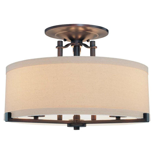 Minka Lavery Ansmith 3 Light Semi Flush Mount, Aged Kinston Bronze