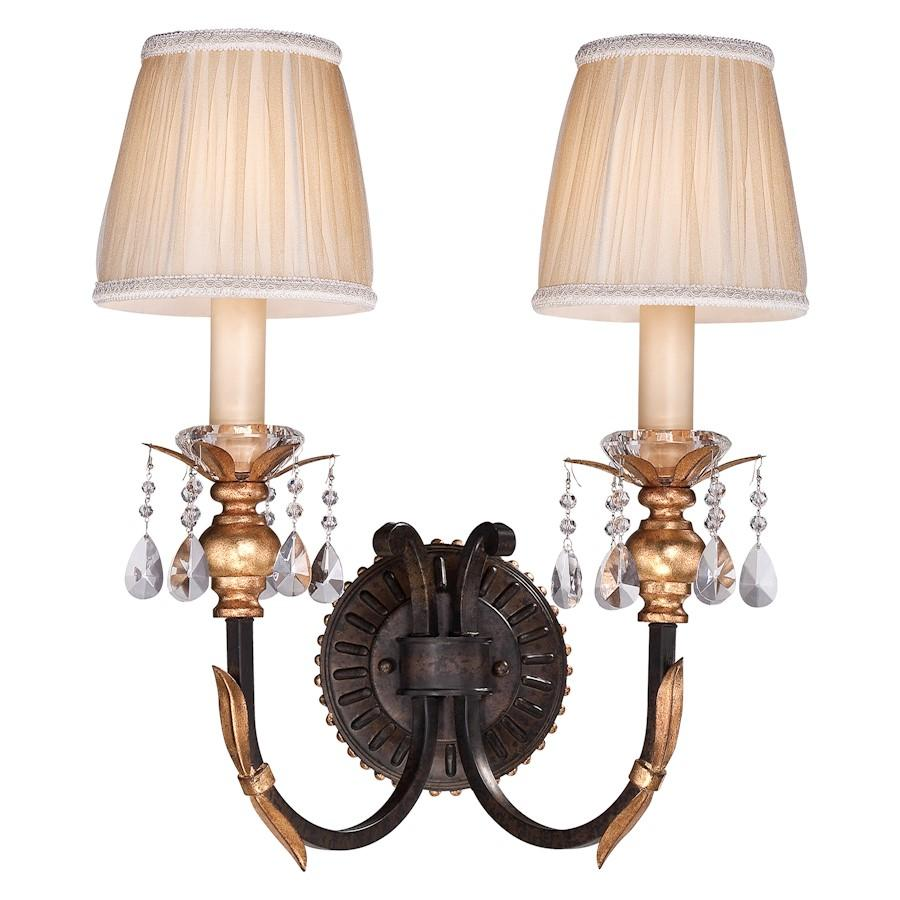 Minka Metropolitan Bella Cristallo 2 Light Sconce, Bronze/Gold