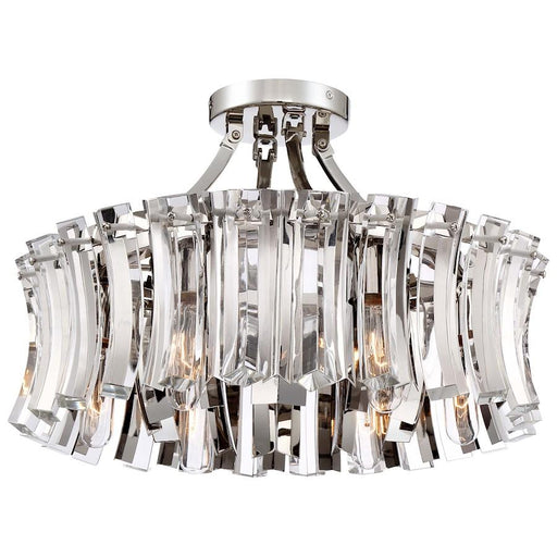 Minka Metropolitan Elegance Royale 6 Light Semi Flush, Nickel