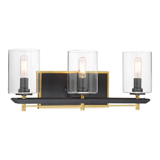 Minka Metropolitan Sable Point 3 Light Bath Bar, Black/Gold