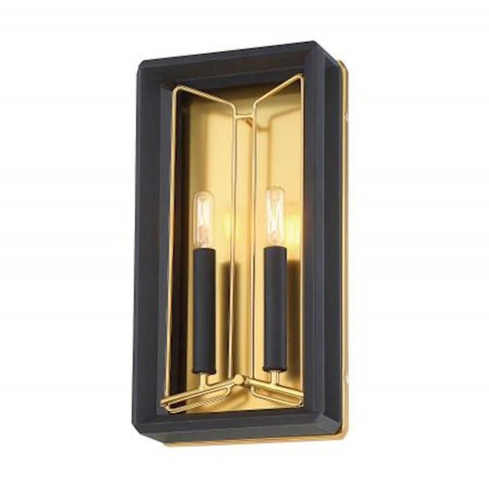 Minka Metropolitan Sable Point 2 Light Wall Sconce, Black/Gold