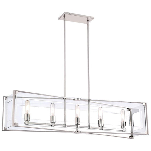 Minka George Kovacs Crystal Clear 5-Light Island Light, Polished Nickel