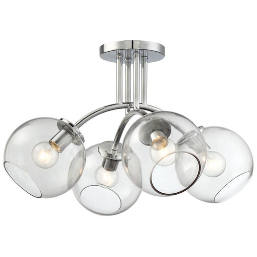 Minka George Kovacs Exposed 4 Light Semi Flush Mount, Chrome