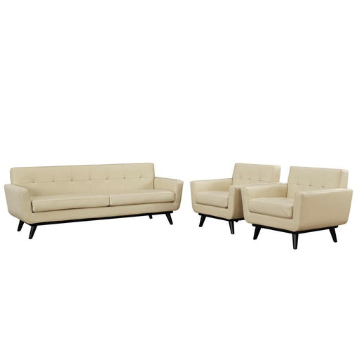 Modway Furniture Engage 3 Pc Leather Sofa/2 Armchairs