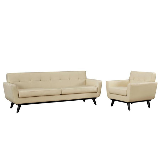 Modway Engage 2 Pc Leather Set, 1 Sofa/1 Armchair