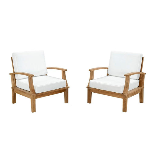 Modway Marina 2 Pc Teak Armchair Set, Natural White