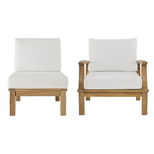 Modway Marina 2 Pc Teak Sofa/Chair Set, Natural White