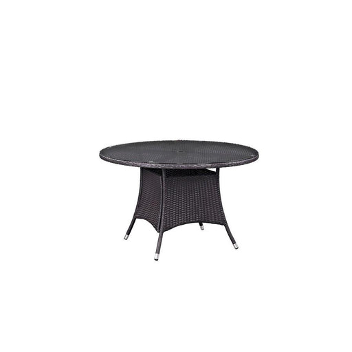 Modway Convene 47-inch Round Outdoor Patio Dining Table, Espresso