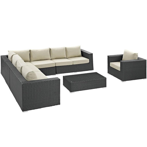 Modway Sojourn 7 Pc Outdoor Sectional Set