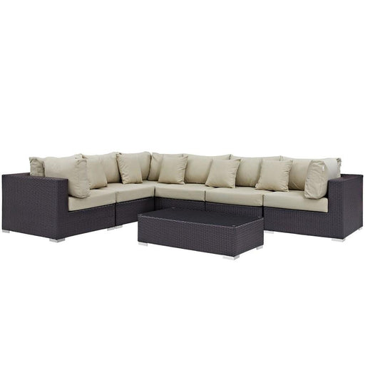Modway Convene 7 Pc, 3 No Arm/3 Corners/Table/5 Pillow