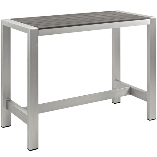 Modway Shore Outdoor Patio Aluminum Bar Table, Silver Gray - EEI-2253-SLV-GRY