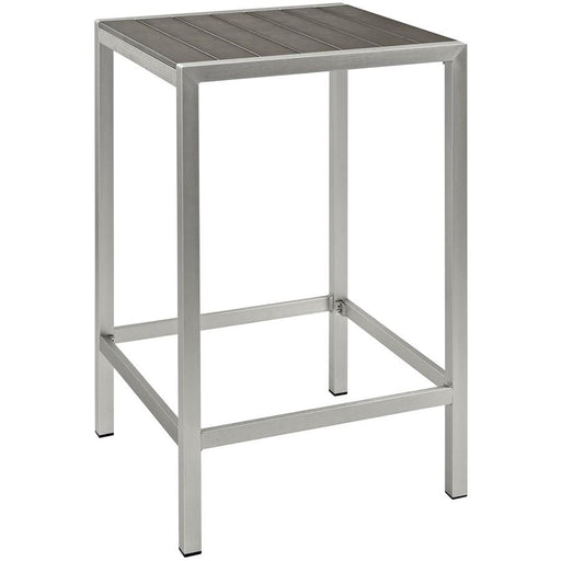 Modway Shore Patio Aluminum Bar Dining Table, Silver Gray - EEI-2256-SLV-GRY