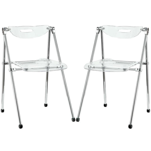 Modway Furniture Telescope 2 Piece Dining Chairs, Clear - EEI-923-CLR