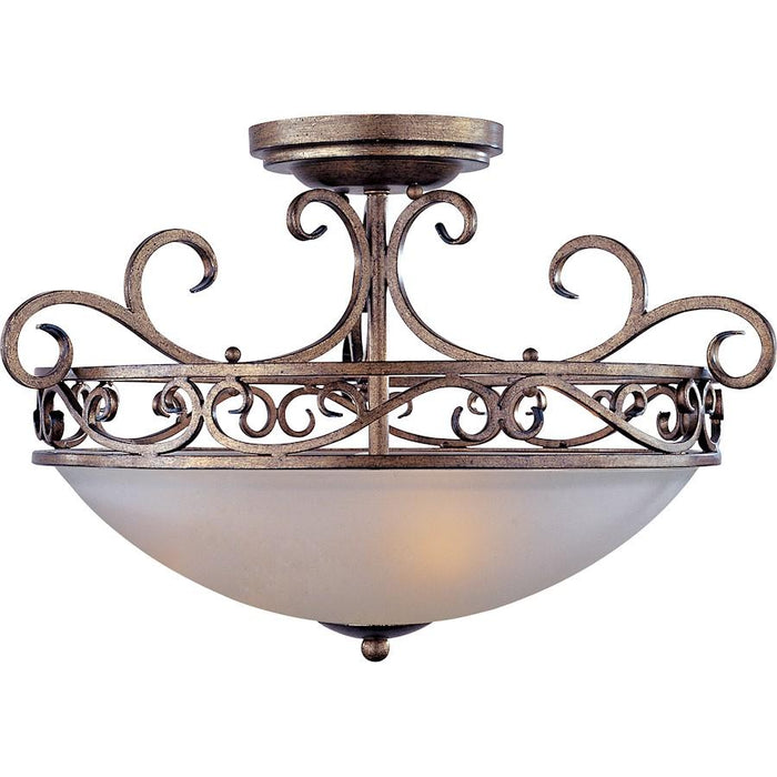 Maxim Hampton 3-Light Semi-Flush Mount, Auburn Dusk