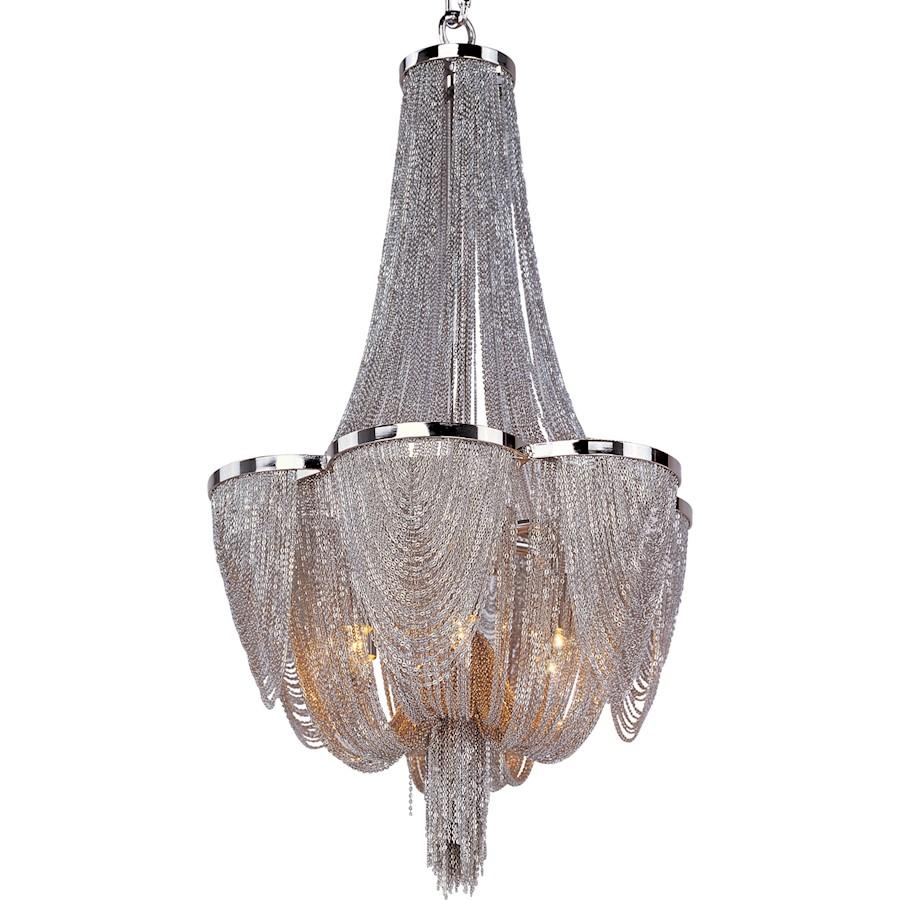 Maxim Chantilly Chandelier, Polished Nickel