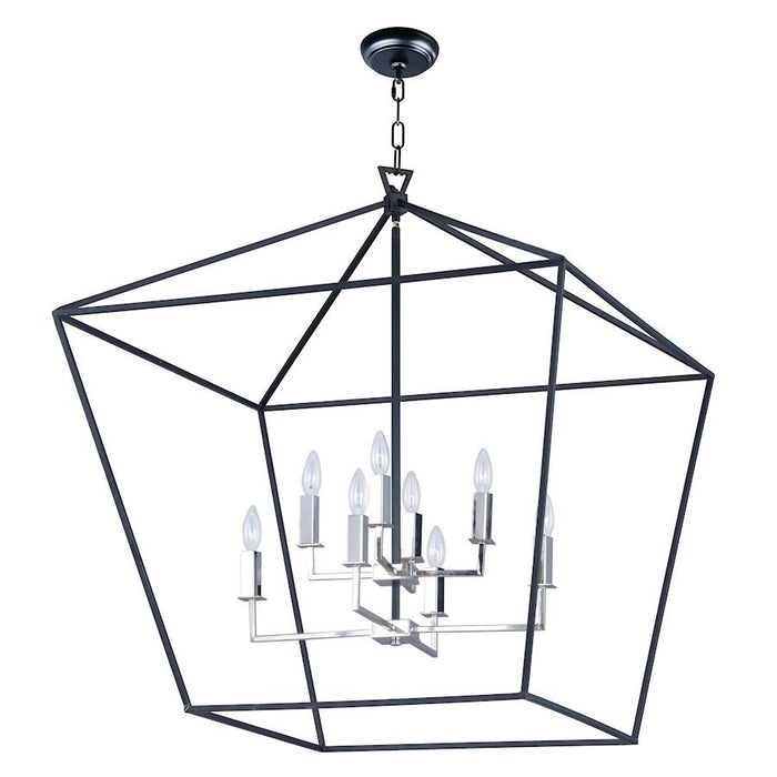 Maxim Lighting Abode 8 Light Chandelier, Black/Nickel
