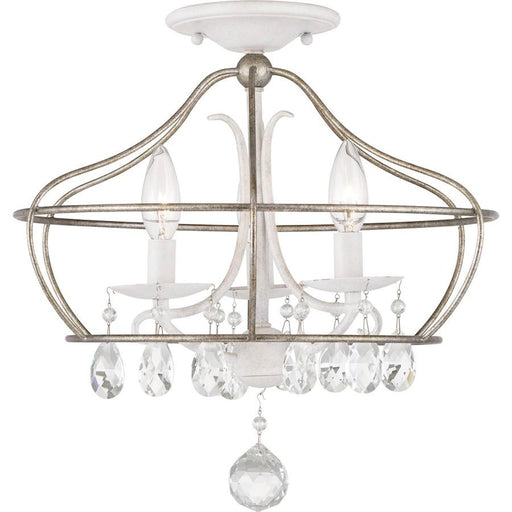 Progress Lighting Fleurette 3-Light Semi-Flush, Cottage White