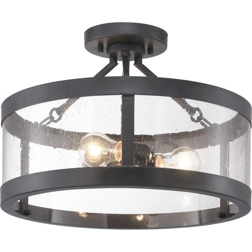 Progress Lighting Gresham 3-Light Semi-Flush, Seeded/Graphite