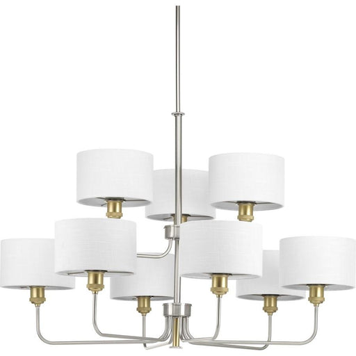 Progress Lighting Cordin 9-Light, 2-Tier Chandelier, Nickel