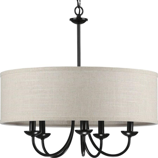 Progress Lighting Drum Shade Five-Light Chandelier, Black