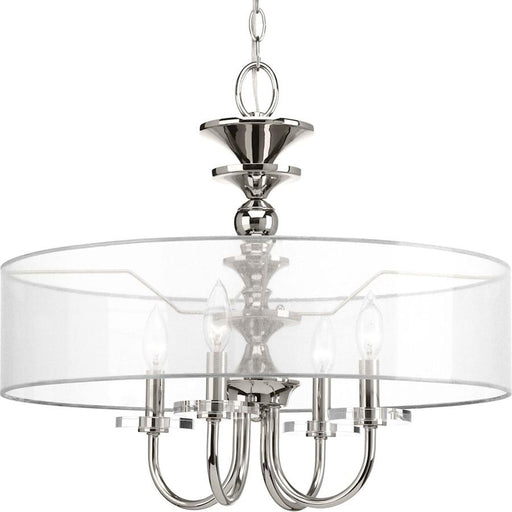 Progress Lighting Marche 4-Light Pendant, Polished Nickel