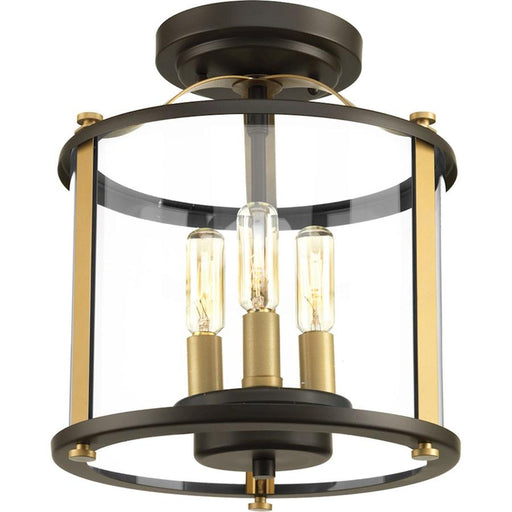 Progress Squire 3-Light Semi-Flush Convertible, Antique Bronze