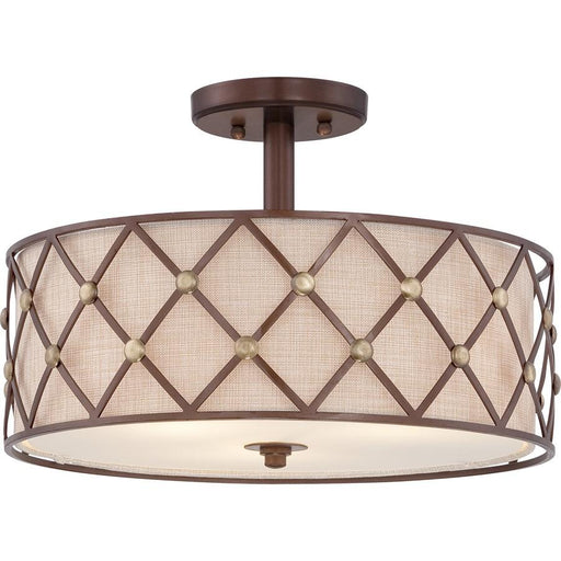 Quoizel Brown Lattice Semi-Flush Mount, Copper Canyon