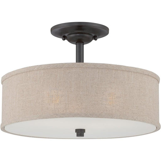 Quoizel 3 Light Cloverdale Semi-Flush Mount, Mottled Cocoa