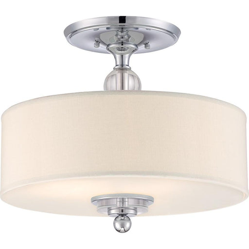 Quoizel 3 Light Downtown Semi-Flush Mount, Polished Chrome