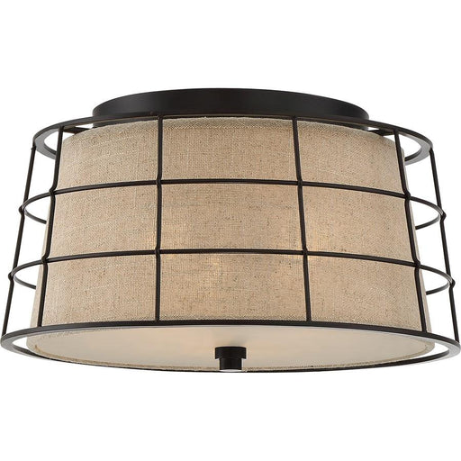 Quoizel Landings 3 Light Flush Mount, Mottled Cocoa
