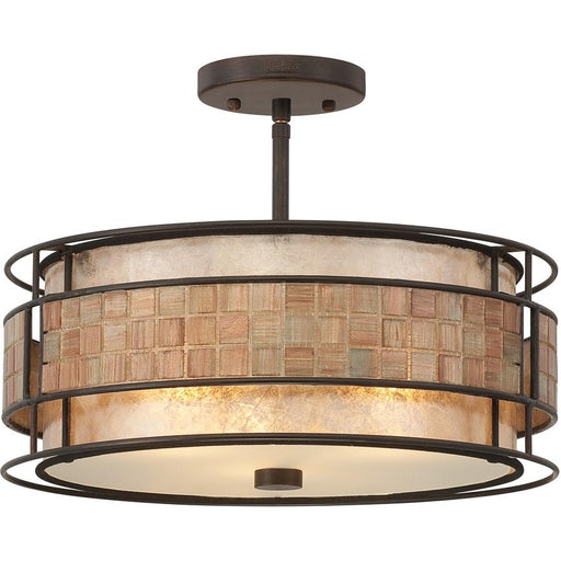 Quoizel 3 Light Laguna Semi-Flush Mount, Renaissance Copper