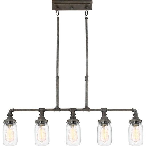 Quoizel Squire 5 Light Island Chandelier, Rustic Black