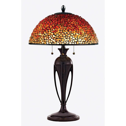 Quoizel 3 Light Pomez Tiffany Table Lamp, Burnt Cinnamon