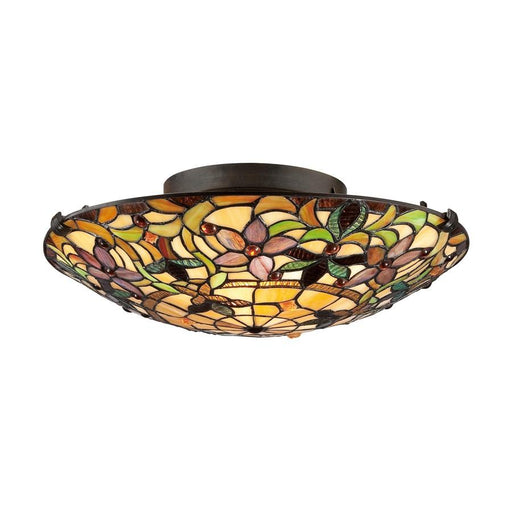 Quoizel 2 Light Tiffany Flush Mount, Bronze