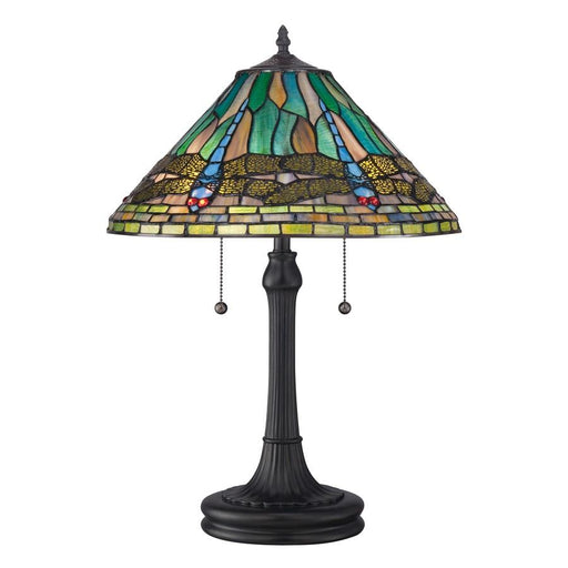 Quoizel 2 Light King Tiffany Table Lamp, Vintage Bronze