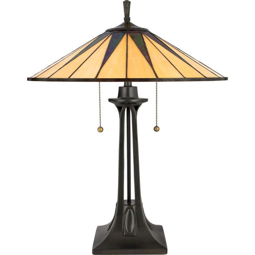 Quoizel 2 Light Gotham Tiffany Table Lamp, Vintage Bronze