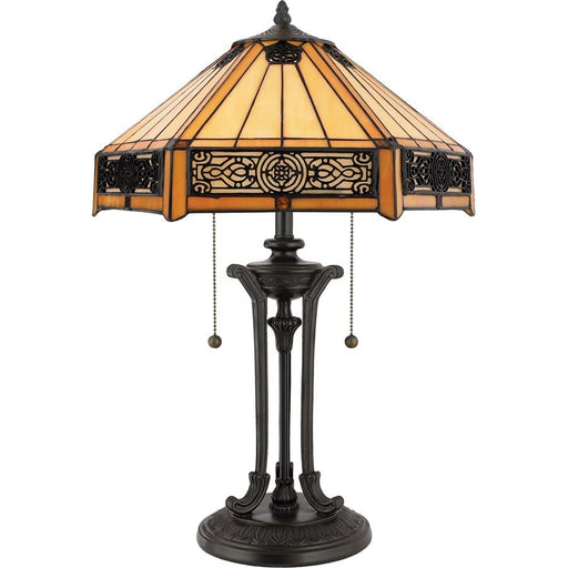 Quoizel 2 Light Indus Tiffany Table Lamp, Vintage Bronze