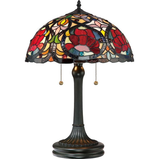 Quoizel 2 Light Larissa Tiffany Table Lamp, Vintage Bronze