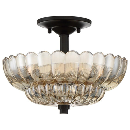 Quoizel Whitecap 3 Light Semi-Flush Mount, Mottled Cocoa