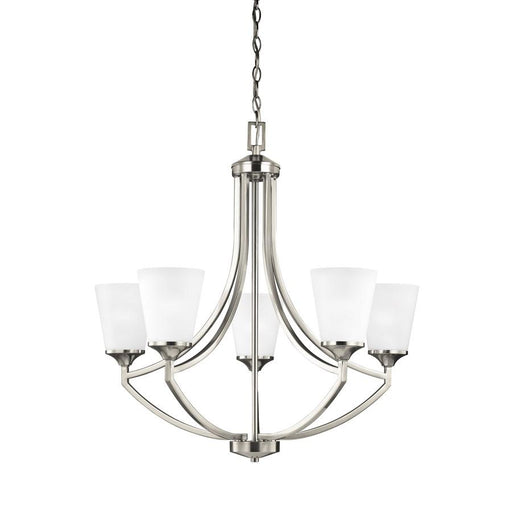 Sea Gull Lighting Hanford 5 Light Chandelier, Brushed Nickel