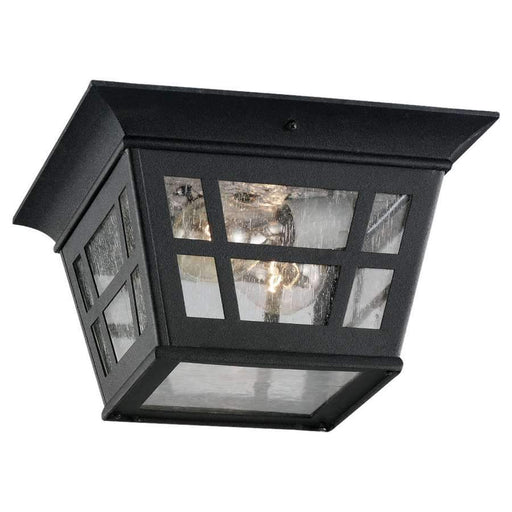 Sea Gull Lighting Two Light Outdoor Ceiling Flush Mount, Black