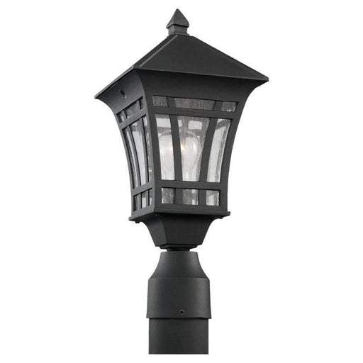Sea Gull Lighting One Light Outdoor Post Lantern, Black