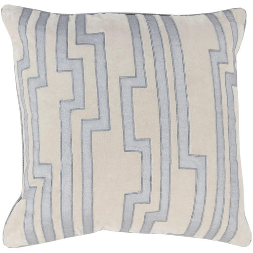 Velocity by C Olson for Surya Down Pillow, Blue/Ivory, 22 x 22